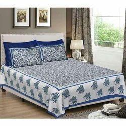 Blue Printed Jaipuri Single Bed Sheet