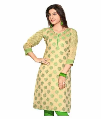 Ladies Printed Silk Kurtis