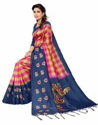 Ligalz Present Art Silk Saree With Jahlar With Blouse