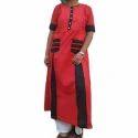 Designer Half Sleeves Red Kurta
