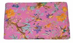 Ramdev Handicrafts Pink Indian Handmade Cotton Floral Printed Fabric