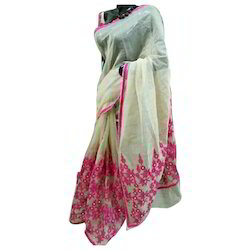 Chiffon Party Wear Embroidery Ladies Saree, With Stitched Blouse