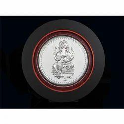 Silver Round Shape Ganesh Frame