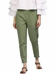 Cotton Flex Solid Green Ankle Length Casual Pant With Both Side Pocket