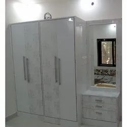 White Stylish Wooden Wardrobe With Dressing Table