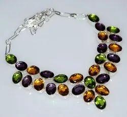 92.5 Sterling Silver Multicolored Quartz Necklace