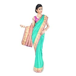 Mint Green Casual Wear Plain Indian Silk Saree, Length: 6.3 m (With Blouse Piece)