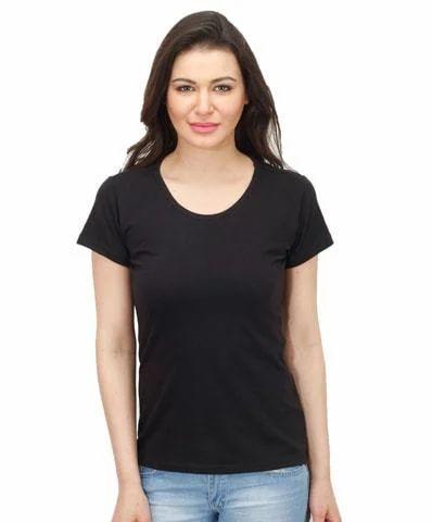 1a2a3cd3eeb Women Round Neck Black T Shirt Biowash Available
