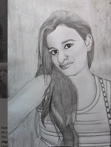 Handmade girl art pencil sketch photo portrait