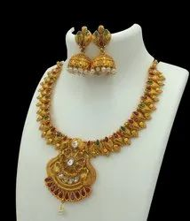 Antique Gold Plated Jewellery Set - D 5017 ANT