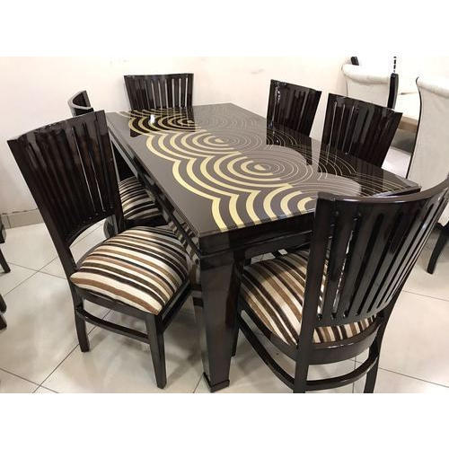 Wood Black 6 Seater Dining Table Rs 1000 Square Feet Kuldeep Furniture Id 19965099862