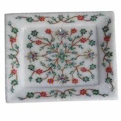 White Marble Inlay Designs Inlay Tray