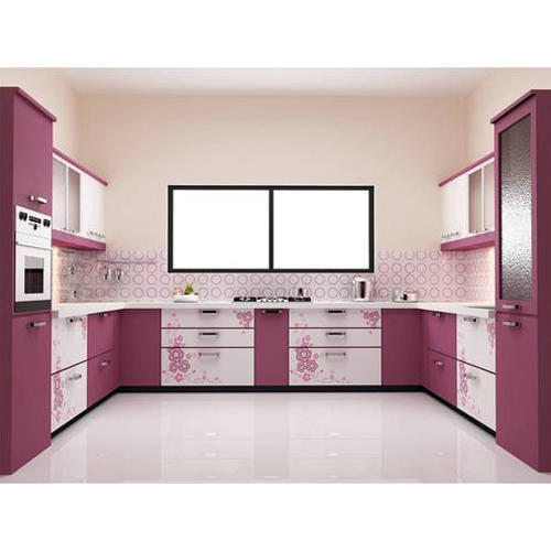 Aluminium Modular Kitchen At Rs 1100 Square Feet: White And Purple U Shape Modular Kitchen, Rs 1400 /square
