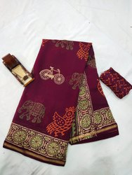Bagru Hand Block Print Chanderi Silk Saree