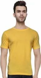 Yellow Cotton Plain Yellow T Shirt