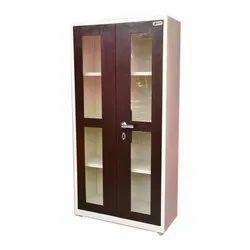 Brown Iron Steel Glass Door Almirah, For Home, office