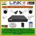 Digital Camera Link Plus 3mp 4 Channel Full Cctv Setup (hard-disk Not Included), Range: 25 To 30 M