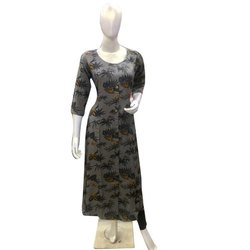 Casual Wear 3/4th Sleeve Ladies Printed Kurti, Size: M