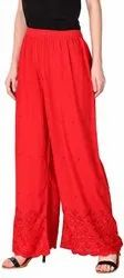 Ladies Rayon Half Chikan Embroidery Palazzo Pants