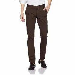 Dark Brown Casual Mens Slim Fit Cotton Trouser