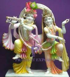Gold Plated Marble Lord Radha Krishna Statue