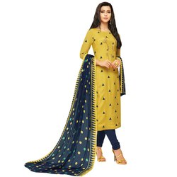 Rajnandini Yellow Chanderi Silk Embroidered Semi-Stitched Dress Material With Printed Dupatta