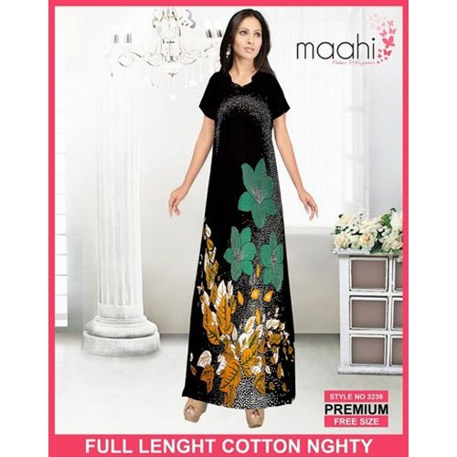 Maahi Full Length Ladies Half Sleeves Cotton Printed Night Gown, Size: Free