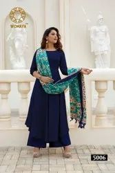 Womaya Rayon Kurti Palazzo and Dupatta Set
