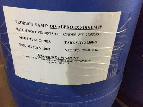 Divalproex Sodium IP, Packaging Size: 25, Packaging Type: Drum Packing