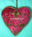 Heart Red Christmas Decorative Zari Embroidery Ornaments, Standard Size, Packaging Type: High Class Export Packing