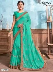 Fancy Party Wear Embroidery Border Saree