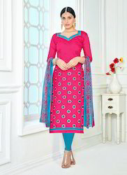 Chanderi Cotton Embroidery Suit
