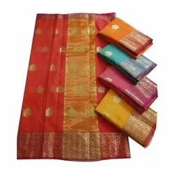 Party Wear Fancy Printed Silk Saree, 6.3 m (with blouse piece)