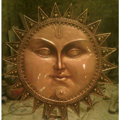 Brown Frp Beautiful Sun Face Statue Usage Lication Interior Decor