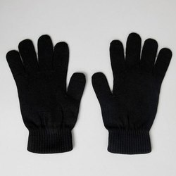Black Polyester Safety Hand Gloves, Size: 6-7 inch