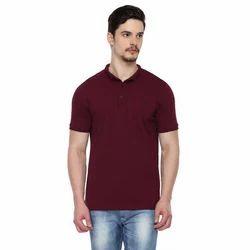Stand Collar Plain Casual Wear T Shirts