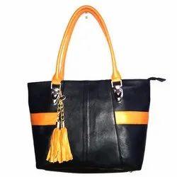 Rovok Black And Tan Ladies Leather Fashion Hand Bag