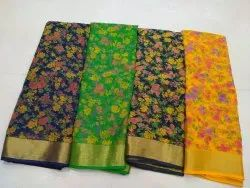 Floral Print Printed Chiffon Saree, 6.30(with blouse piece)