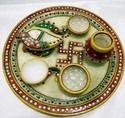 Marble Pan Shape Pooja Thali
