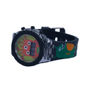 Childrens Kids Lcd Wrist Watch Skweek Design Green Color With Blinking Light