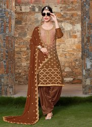INDIA ATTIRES Cotton Wedding Patiala Salwar Suit, Machine wash