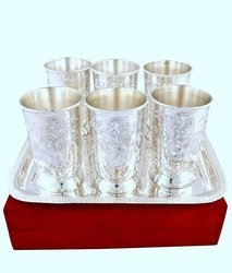 Sai Enterprises Brass Silver Coated Tray with Glass Set