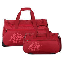 Nasher Miles Flander Unisex (49 & 56 Cm) Polyester Soft-Sided Duffle Bag Set Of 2 Red (Small & Mediu