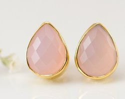 Light Pink Chalcedony Pear Shape Gold Plated Collet Handmade Silver Earring Stud