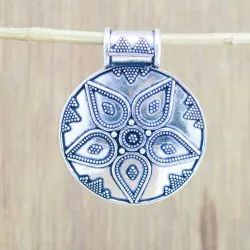 Hand Finished Oxidized 925 Sterling Solid Silver Jewelry Plain Pendant
