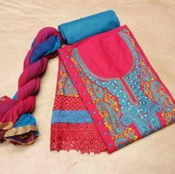 Cotton And Satin Bandhanis Dress Material