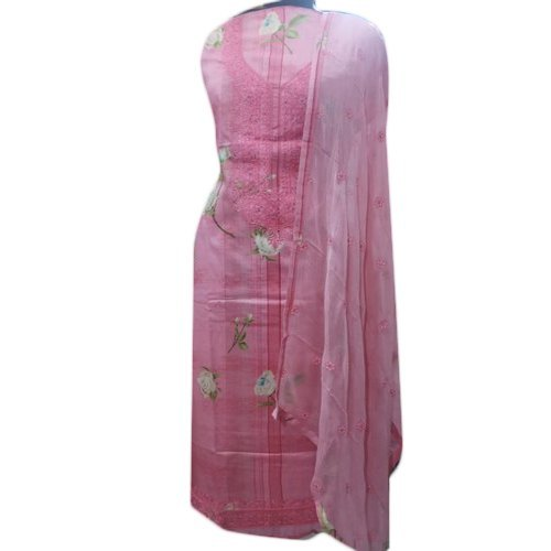 Cotton and Georgette Ladies Designer Unstitched Suit, Handwash