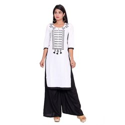 White and Black Cotton Flex Kurti