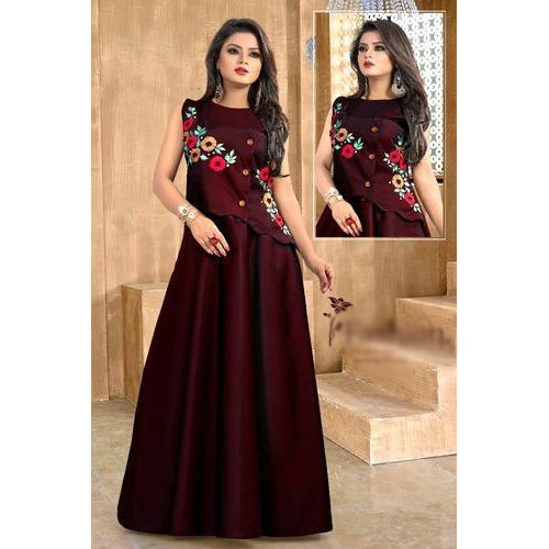498ec6a9db Cotton Embroidered Ladies Sleeveless Long Gown, Rs 1350 /piece | ID ...