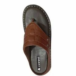 Cat Wog Mens Brown Leather Slipper